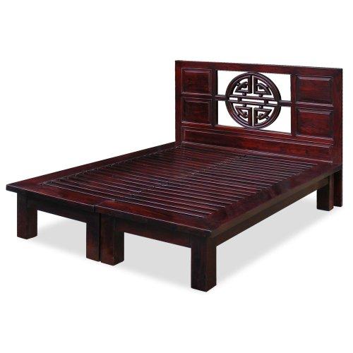 ChinaFurnitureOnline Elmwood Platform Bed, Yuan Yuan Style with Longevity Design Motif Queen Size Dark Cherry Finish