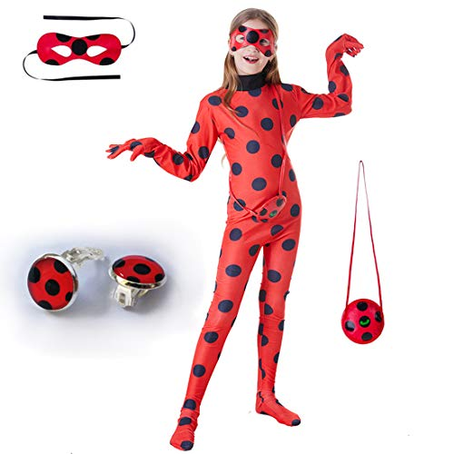 Kids Girl Ladybug Costume - Red Ladybird Little Beetle Suit Jumpsuit Halloween Party Cosplay for Women Adult Toddler Child ()