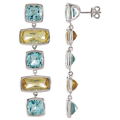 (Sky Blue Topaz & Lime Quartz Multi-Gemstone Earrings )