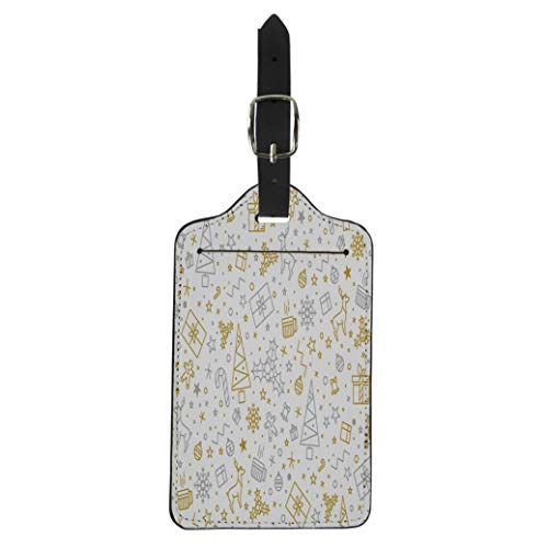 Pinbeam Luggage Tag Yellow for Christmas on Gold Beautiful Pattern Luxurious Suitcase Baggage Label ()