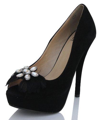 Heerlijke Vrouwen Uditi Faux Suede Veer Bloemvorm Bergkristal Pomp, Zwart, 7 M Zwart