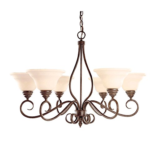 Savoy House KP-104-6-91 Chandelier with Cream Faux Alabaster Shades, Sunset Bronze Finish