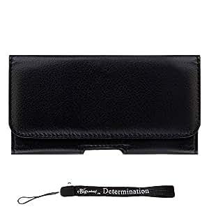 Black Leatherette Carrying Holster Mobile Case [CEL930] For Motorola RAZR HD | RAZR MAXX | XT910 Smartphone + eBigValue HandStrap