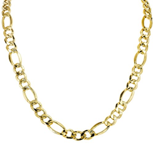 14kt Yellow Gold Solid Diamond Cut Alternate 3+1 Classic Figaro Chain with Lobster (Classic Figaro Chain)