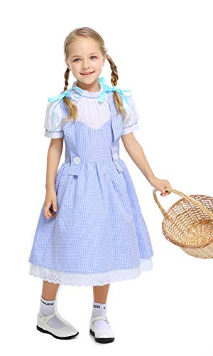 yolsun Dorothy Costume for Girls, Kids' Wizard of Oz Role Play Dress up (M(Suggested Height:50
