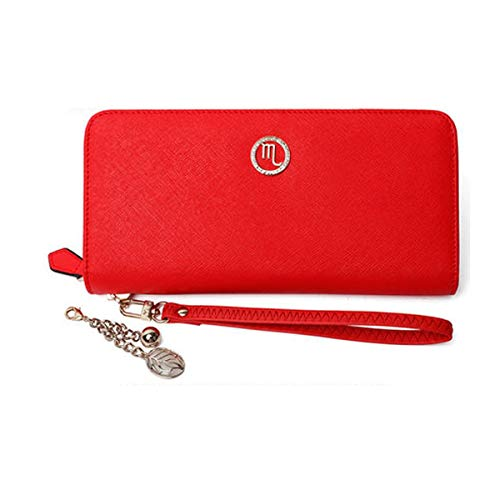 8haoawenju Women's 12 Constellation Leather Wallet, Clutch, Big Travel Wallet, Women's Zip Wallet, Women's Boxed Gift, (Red) (Color : Scorpio)