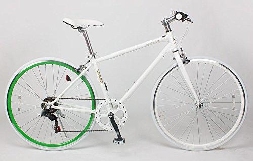 21Technology Crossbike[CL266] クロスバイク シマノ製6段変速ギヤ付き 700×28C B009KF128A ホワイトグリーンリム ホワイトグリーンリム