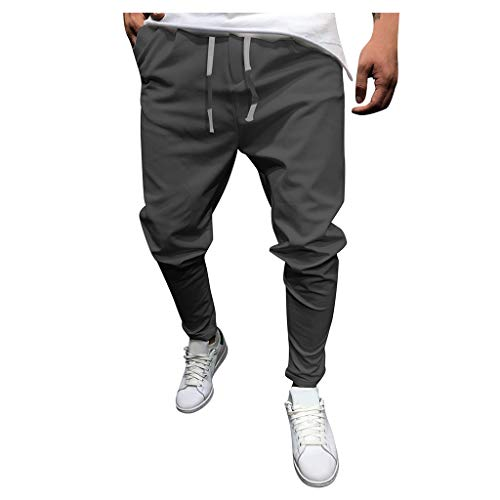 Casual Lounge Pants for Men, Huazi2 Pockets Drawstring Comfortable Trousers Dark Gray