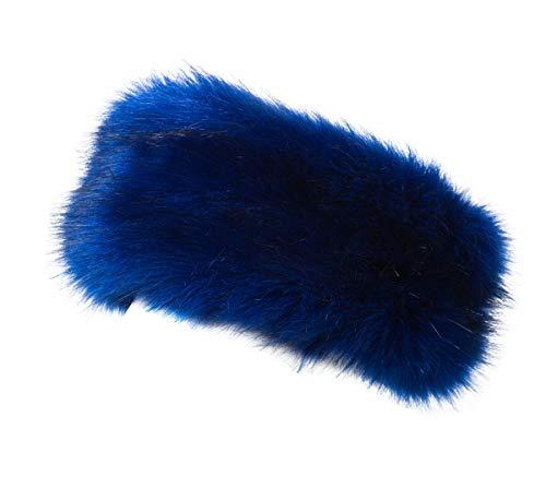 Faux Fur Headband - Lucky Leaf Cozy Warm Hair Band Earmuff Cap Faux Fox Fur Headband with Stretch for Women (B1-Royalblue)