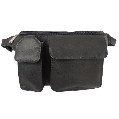 piel-leather-waist-bag-with-phone-pocket-black-one-size