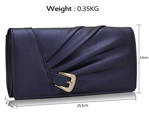 Gorgeous Sparkly UK Satin FREE Navy Evening Bag DELIVERY Crystal HHqRpnr