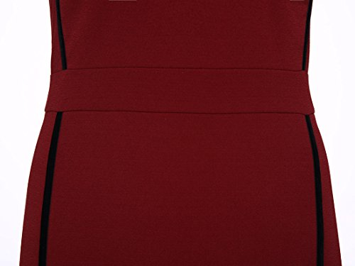 Sheath Back Dress Women's Burgundy Zipper CASF Elegant Red qRWBqX