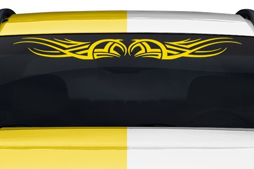 Sticky Creations   Design  111 Tribal Scroll Curls Windshield Decal Sticker Vinyl Graphic Rear Back Window Banner Tailgate Car Truck Van Suv Boat Go Cart Trailer Wall   36 X4 25    Yellow