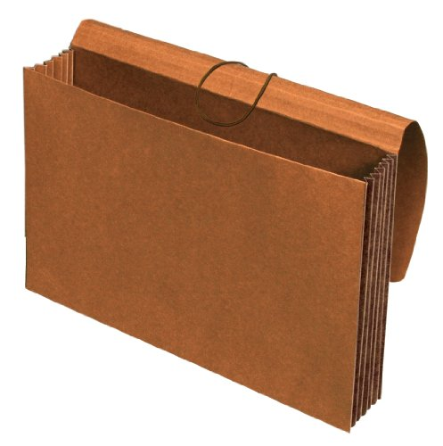 Globe-Weis/Pendaflex Tyvek File Wallet, 5.25-Inch Expansion, Extra Wide, Elastic Cord Closure, Legal Size, Brown, 10-Count -