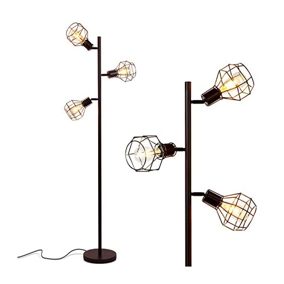 Brightech Robin - Industrial Tree Floor Lamp with 3 Cage Heads & Vintage Edison Bulbs - Rustic, Farmhouse Pole Light for… - INDUSTRIAL, FREE STANDING LAMP MATCHES MANY DECORS - Match your rustic or farmhouse living room with this vintage factory / warehouse looking upright lamp. The Brightech Robin mixes a bit of steampunk design with modern clean lines and minimalism - no bulky generic shades here! COMPLIMENT GETTING, TREE POLE LAMP WITH 3 BRIGHT HEADS: Enjoy the admiration of guests! The three lights, reminiscent of a tree's branches, reach outward up to 11 inches, and measures 5 inches at their widest. They attach to the poll at 61, 54, and 47 inches from the floor, so you can use one or two for reading or all three for room lighting. The flexible, adjustable swivel joints let you point light right where you need. EASY TO BUILD, WARM ACCENT LIGHT FEATURES HEAVY BASE SO IT WON'T EASILY TIP AND IS KID & PET SAFE: Assemble the lamp in just a few minutes, even if you're not handy. Once this stand up light is built, enjoy the soft room lighting that create ambience without blinding. The heavy base also gives the lamp stability so it is unlikely to tip, making it safe around children and pets. Also, the LED bulbs don't get hot, avoiding accidental burns if you touch the light. - living-room-decor, living-room, floor-lamps - 41PqLDEicfL. SS570  -
