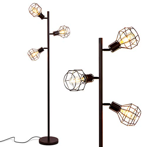 Brightech - Robin LED Industrial Floor Lamp for Living Room - Rustic, Tall Tree Lamp with 3 Vintage Edison LED Light Bulbs - Farmhouse Lamp for Ambience - Black