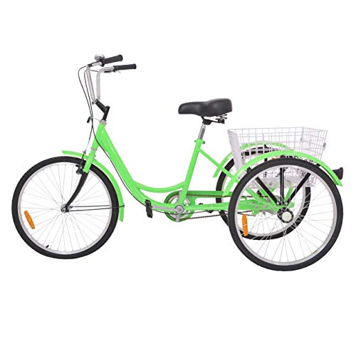 H&ZT Adult Tricycle Trike 7 Speed 3 Wheel Bike with Large Basket and Maintenance Tools, 24 Inch Wheel Size Bike Trike, Men's Women's Cruiser Bike