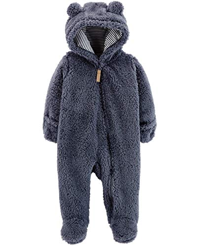 Carter's 0-9 Months Hooded Sherpa Bunting Pram (Navy Sherpa, Newborn) (Hooded Baby Jumper)