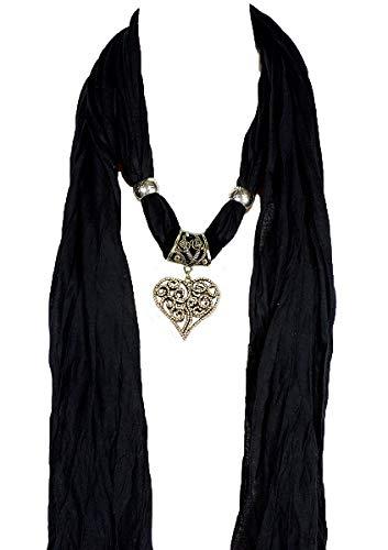 Alirina Red Scarf with Elephant, Heart, owl, Cross, Round Diamond Charm, Pendant, Jewelry Necklace Scarf, Elephant Scarf (843_blk)