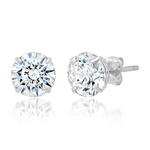 14k Solid White Gold ROUND Stud Earrings with Genuine Swarovski Zirconia | 2.5 CT.TW. | With Gift -