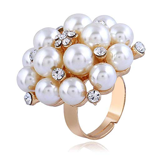 Andawei Women Ring Elegant Open Adjustable Ring Fashion Bright Creative Finger Ring Index Pearl Diamond Wedding Jewelry Ring for Lady Girls Birthday Gift