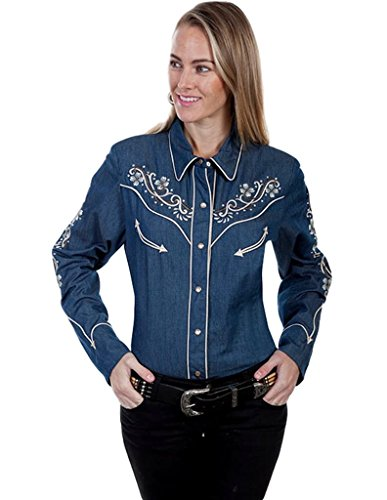 Scully Western Shirt Womens Long Sleeve Floral Snap XXL Denim PL-863