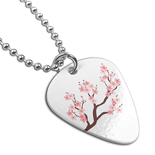 Cherry Blossom Custom Guitar Pick Pendant Necklace Keychain