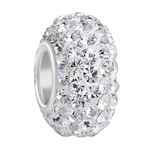 - 925 Sterling Silver Clear Swarovski Elements Czech Crystal Charm Bead April Birthstone Fits Major Brands Bracelets