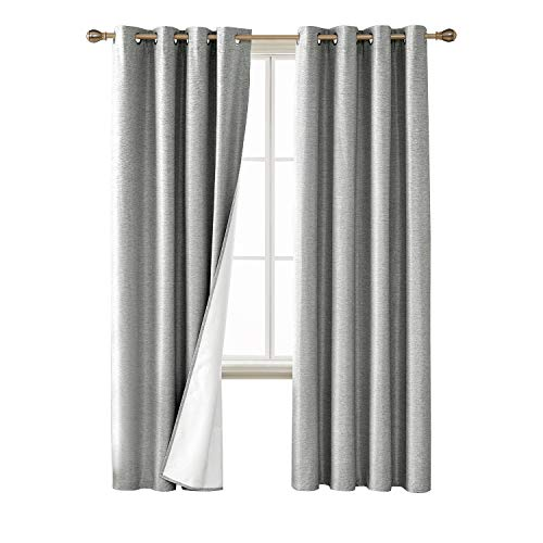 Deconovo Light Grey Blackout Curtais Grommet Top Thermal Insulated Light Blocing Curtain Panels with Triple Pass Coating for Sliding Glass Door 52W x 95L Inch 2 ()