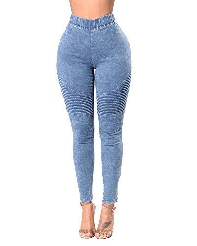 Jeans Femme Denim Pantalons Crayon tendue Slim Sexy Jeans Push Up Bleu Clair
