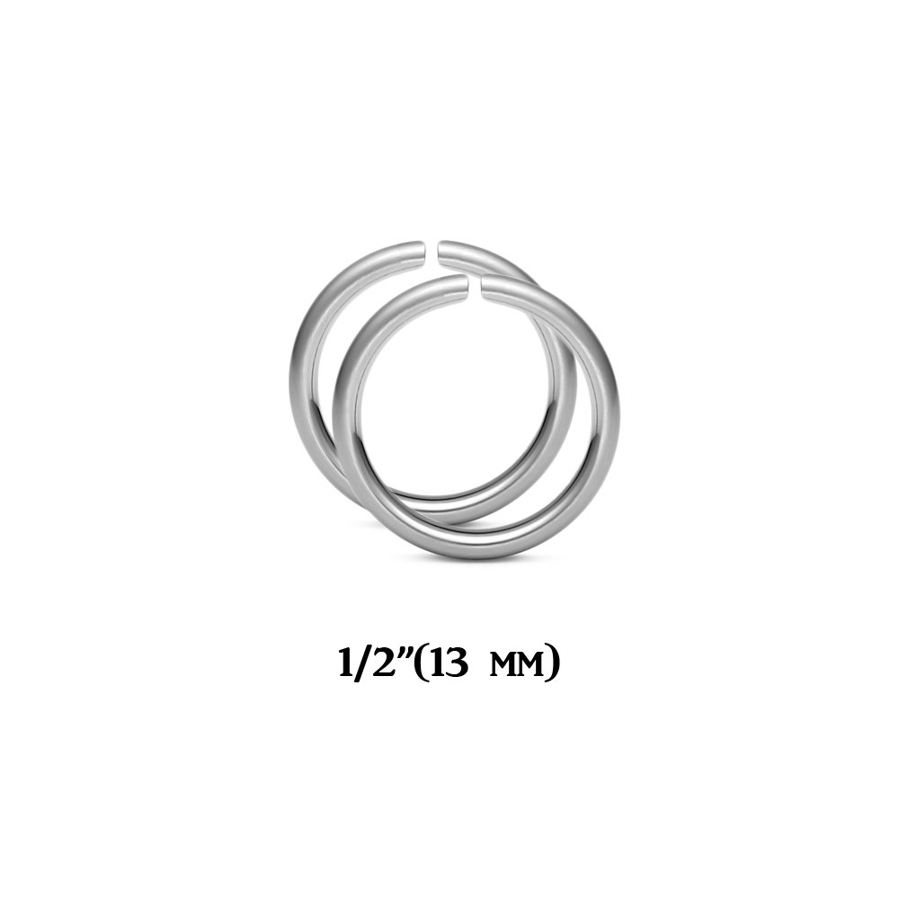 BodyJewelryOnline 14ga Eyebrow Nose Ear Cartilage Hoops 316L Steel - Sold in Pairs - 3 Size Options (10mm - 00g) 72771-10mm-Pair