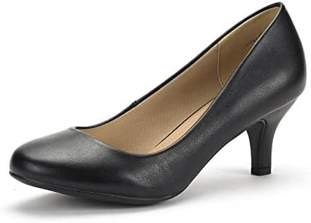DREAM PAIRS Women's Low Heel Pump Shoes