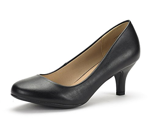 DREAM PAIRS Women's Luvly Black Pu Bridal Wedding Low Heel Pump Shoes - 7.5 M US