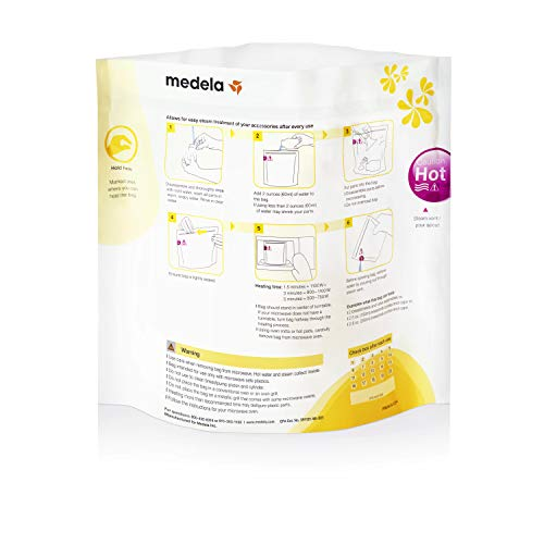 41PqMDsh45L - Medela Quick Clean Micro-Steam Bags, 12Count Sterilizing Bags For Bottles & Breast Pump Parts, Eliminates 99.9% Of Common Bacteria & Germs, Disinfects Most Breastpump Accessories