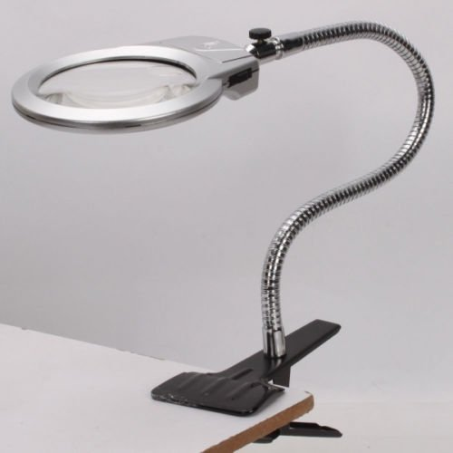 Large Lens Lighted Lamp Desk Magnifier Magnifying Glass with