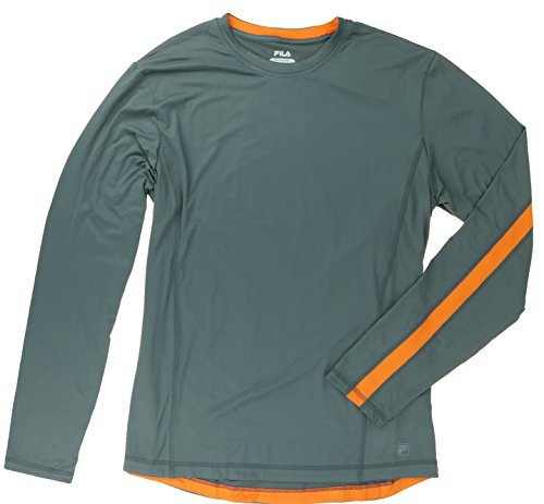 fila-mens-long-sleeve-performance-tee-x-large-charcoal-orange-stripe