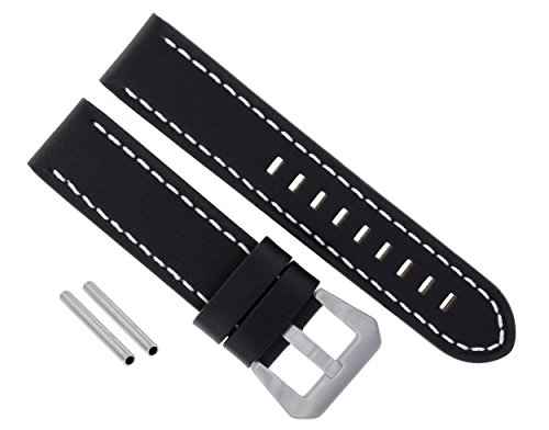 24MM PREMIUM LEATHER WATCH BAND STRAP FOR 44MM PANERAI 24/22MM BLACK WS LONG #10 - 44mm Panerai Watches