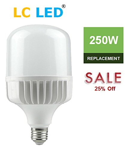 LC LED 250W LED Bulb, 35W 3700 Lumens, High Output Warm White (3000K) Commercial & Residential Lighting, CRI 80+, 330 Degree, Non-Dimmable