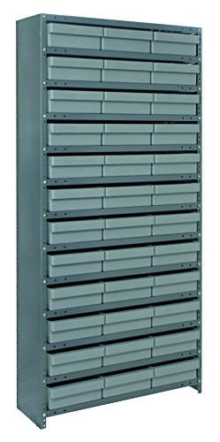 (Quantum Storage Systems CL1275-801GY Closed Shelving System with Super Tuff Euro Drawers, 36 QED801 Shelf Bins, 12