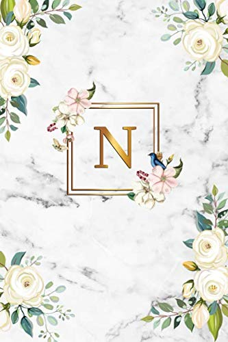 N: Cute Initial Monogram Letter N Dot Grid Bullet Notebook. Nifty Personalized Journal & Diary with Dotted Grid Pages for Girls and Women - Cute Grey Marble & Gold Floral Print