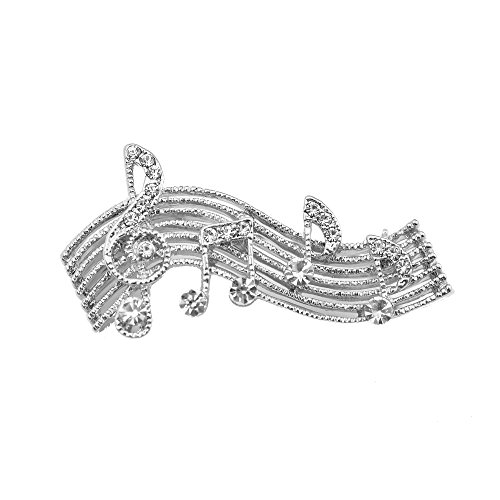 chelseachicNYC Tiny Jewel Crystal Music Note Melody Brooch Pin Silver