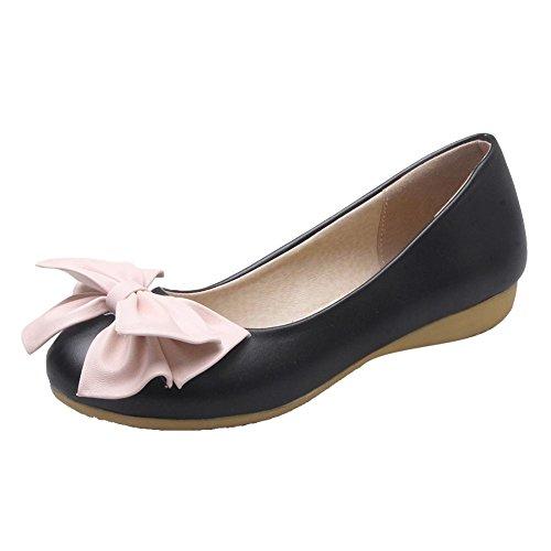 Carolbar Womens Bows Elegance Comfort Lolita Cute Sweet Flats Shoes Black TYZHf