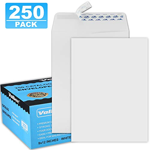 ValBox 9x12 Self Seal Catalog Envelopes 250 Packs White Envelopes with Peel and Seal Flap for Mailing, Organizing and Storage (9 X 12 Envelopes)