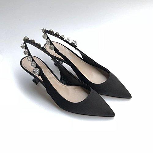 KPHY Sandalias para gato y talón de seda, tacones de 5 cm, diseño de mujer negro