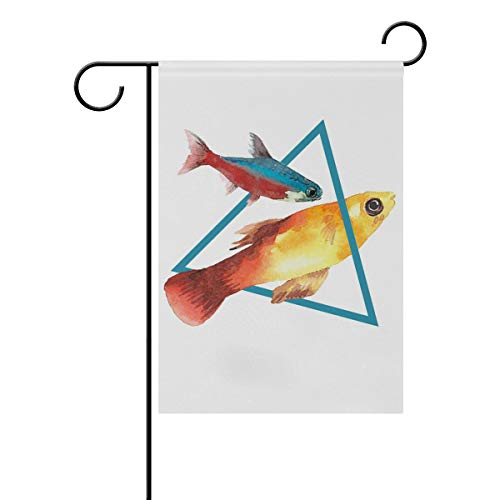 Chic Houses Cute Fish Watercolor Painting Outdoor Garden Flags Lovely Animal Creative Design Concise Style Vertical Double Sided Home Decorative House Yard Sign 28 x 40 Inch 2031014