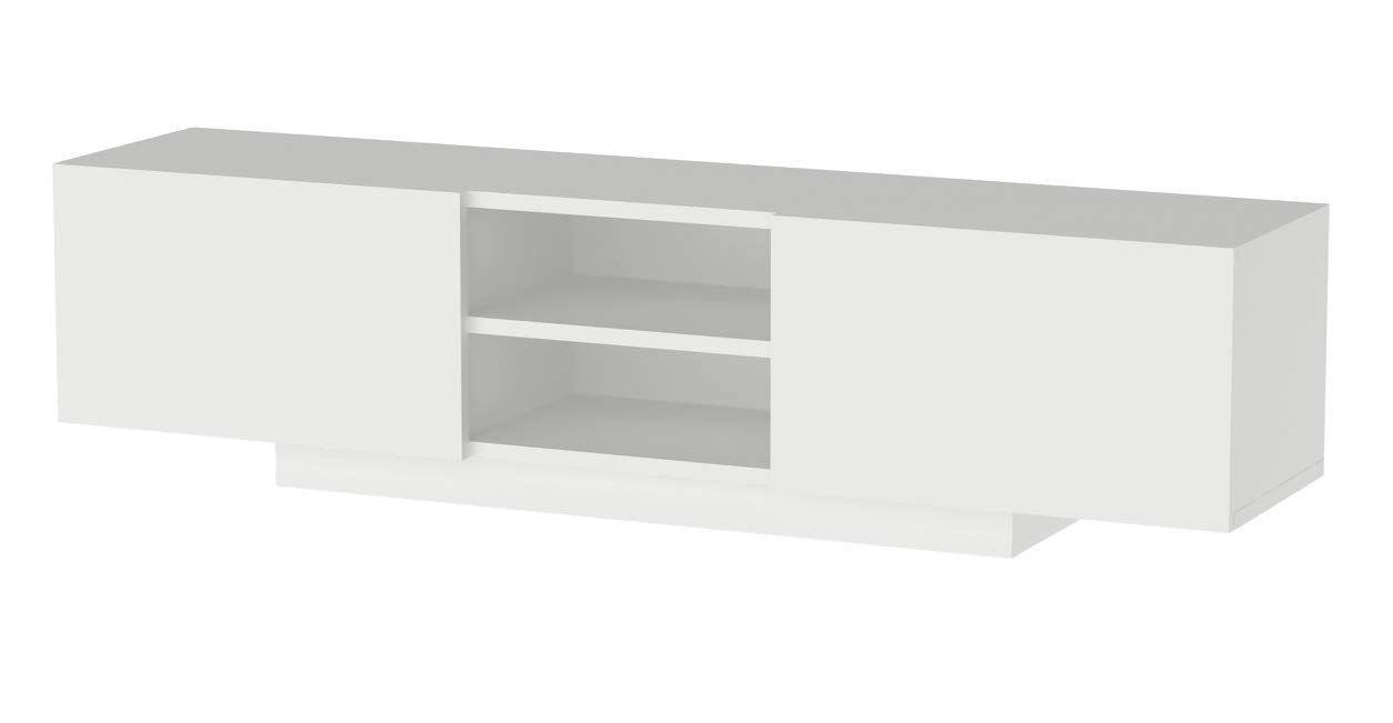 Norm TV Stand (White) - High quality thicker paint coating that is durable against dents and scratches and gives a much more elegant look. Made with heavy chipboard panels to ensure maximum durability. Modern minimalistic design - tv-stands, living-room-furniture, living-room - 41PqOPqRGcL -