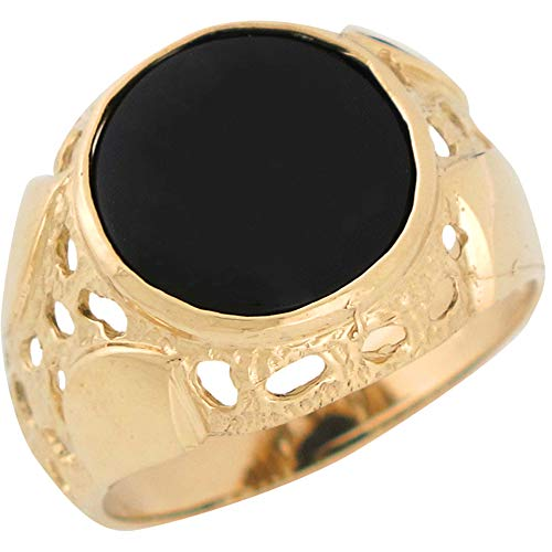 (14k Yellow Gold Bezel Set Bold Black Onyx Accented Mens Unique Nugget Ring - Size 13)