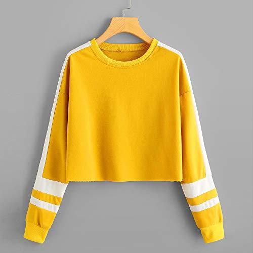et Hauts Manteau Femme Shirt T à Tops à Rayures Chemisier Manches Jaune Tunique à Sweatshirt Col Rond Beikoard Longues nZxvaa