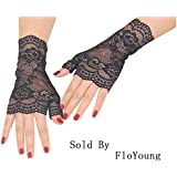 FloYoung Women Bridal Short Lace Half Finger Party Dress Gloves Black