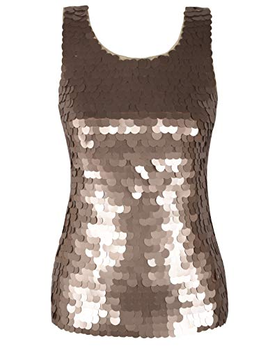 PrettyGuide Women Shimmer Glam Sequin Embellished Sway Sparkle Tank Top Vest Tops L Champagne